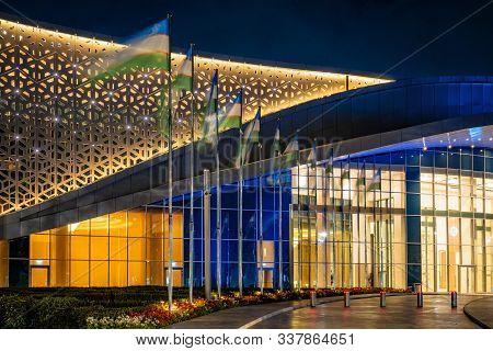 Tashkent, Uzbekistan - 30 October, 2019: Congress Hall With Colorful Illumination At Night In Tashke