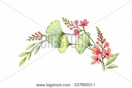 Watercolor Floral Arch. Colourful Round Composition Wreath With Wild Freesia Flowers Isolated On Whi