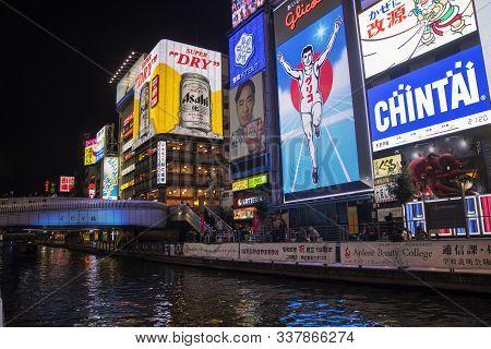 Osaka, Japan- 01 Dec, 2019: The Gulico Man Digital Signage Billboard Is The Popular Landmark And Tou