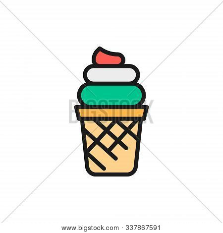 Vector Italian Ice Cream, Gelato Flat Color Line Icon.