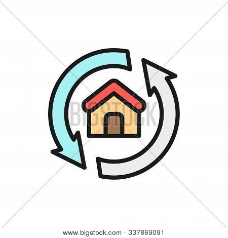 House Remodeling, Redevelopment, Repair Home Flat Color Line Icon.