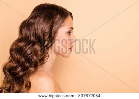 Profile Side Photo Of Dream Dreamy Girl Enjoy Spa Salon Skin Care Treatment Feel Wellness Flawless I