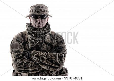 Experienced commando army military soldier studio portrait poster