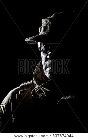 Elderly Commando Fighter Studio Portrait On Black