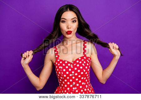 Close-up portrait of her she nice attractive lovable coquettish cheerful wavy-haired girl making tails having fun sending air kiss isolated on bright vivid shine vibrant lilac purple violet background poster