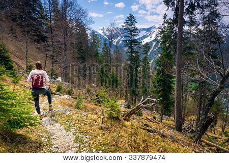 Traveling Outdoor Hiking Walking Nature. Traveling In Nature. Travel Outdoor Backpacking Nature. Nat