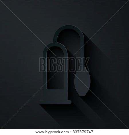 Paper Cut Penis Pump Icon Isolated On Black Background. Penis Enlarger. Sex Toy For Men. Vacuum Pump
