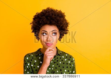 Photo Of Pretty Curious Dark Skin Curly Lady Flirty Girlish Mood Looking Side Empty Space Arm On Chi
