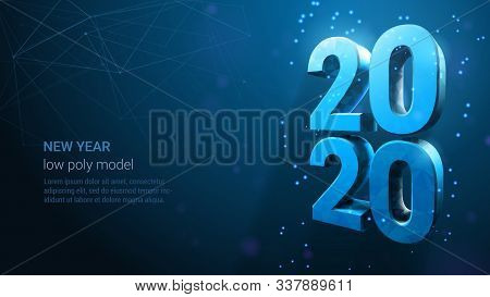 Happy New Year 2020 Banner. Blue Neon Vector Luxury Text 2020 Happy New Year. Wireframe Light Number