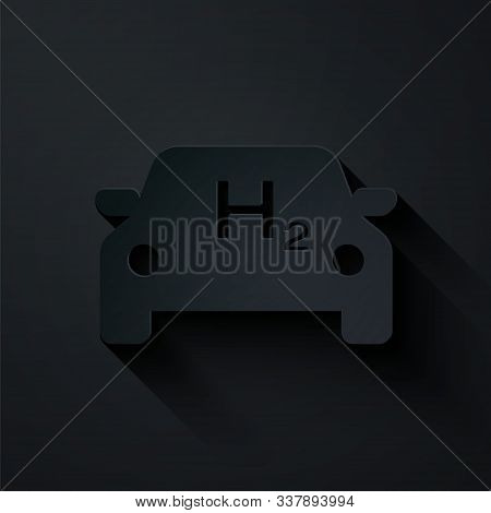 Paper Cut Hydrogen Car Icon Isolated On Black Background. H2 Station Sign. Hydrogen Fuel Cell Car Ec