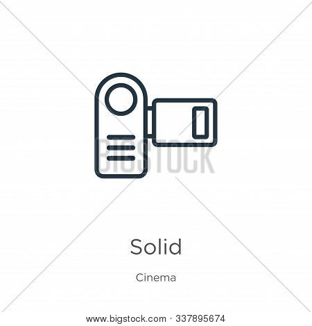 Solid Icon. Thin Linear Solid Outline Icon Isolated On White Background From Cinema Collection. Line