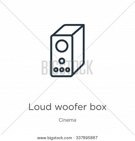 Loud Woofer Box Icon. Thin Linear Loud Woofer Box Outline Icon Isolated On White Background From Cin