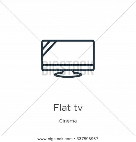 Flat Tv Icon. Thin Linear Flat Tv Outline Icon Isolated On White Background From Cinema Collection.