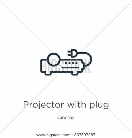 Projector With Plug Icon. Thin Linear Projector With Plug Outline Icon Isolated On White Background
