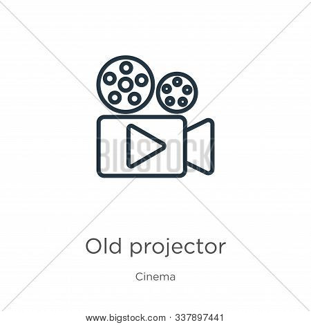 Old Projector Icon. Thin Linear Old Projector Outline Icon Isolated On White Background From Cinema