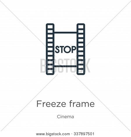 Freeze Frame Icon. Thin Linear Freeze Frame Outline Icon Isolated On White Background From Cinema Co