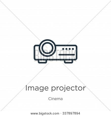 Image Projector Icon. Thin Linear Image Projector Outline Icon Isolated On White Background From Cin