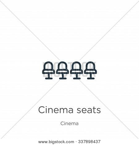 Cinema Seats Icon. Thin Linear Cinema Seats Outline Icon Isolated On White Background From Cinema Co