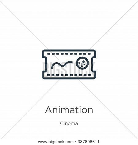 Animation Icon. Thin Linear Animation Outline Icon Isolated On White Background From Cinema Collecti