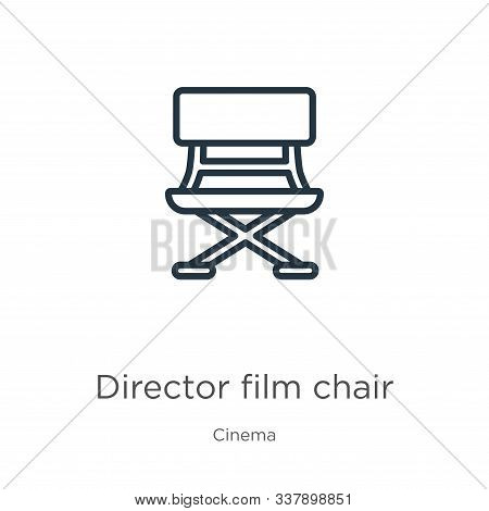 Director Film Chair Icon. Thin Linear Director Film Chair Outline Icon Isolated On White Background