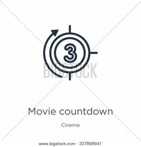 Movie Countdown Icon. Thin Linear Movie Countdown Outline Icon Isolated On White Background From Cin