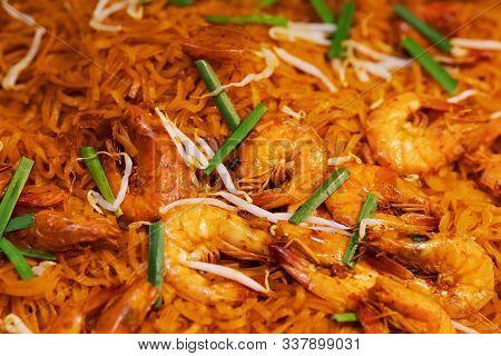 Pad Thai Goong Sod, Fried Rice Sticks With Shrimp, Thai Street Food Market