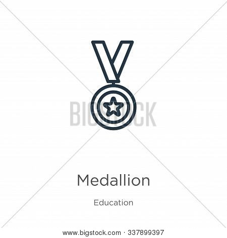 Medallion Icon. Thin Linear Medallion Outline Icon Isolated On White Background From Education Colle
