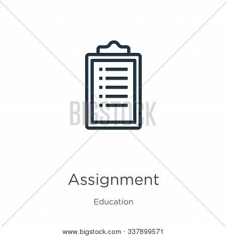 Assignment Icon. Thin Linear Assignment Outline Icon Isolated On White Background From Education Col