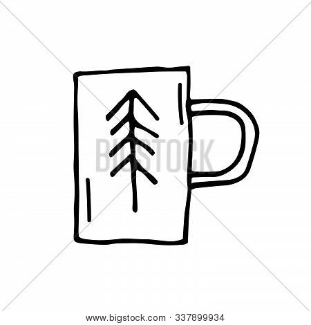 Coffee, Tea Cup Vector Doodle Illustration. Hand Drawn Cup With Christmas Tree. Hot Drinks. Dishes.