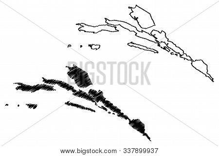 Dubrovnik-neretva County (counties Of Croatia, Republic Of Croatia) Map Vector Illustration, Scribbl