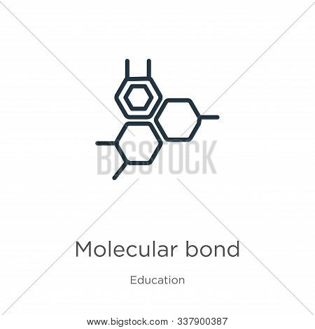 Molecular Bond Icon. Thin Linear Molecular Bond Outline Icon Isolated On White Background From Educa