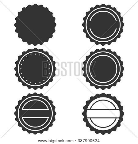Stamps Without Text Graphic Icons Set. Blank Post Stamps Collection. Stamps Circle Form. Vector Illu