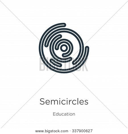 Semicircles Icon. Thin Linear Semicircles Outline Icon Isolated On White Background From Education C