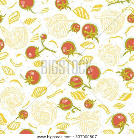 Vector Tomato Pasta Noodle Pattern. Homemade Delicious Hand Drawn Noodle Pattern On Spotted Backgrou