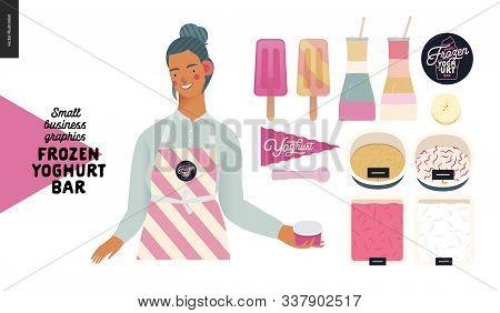 Frozen Yoghurt Bar - Small Business Graphics - Shop Owner And Range -modern Flat Vector Concept Illu