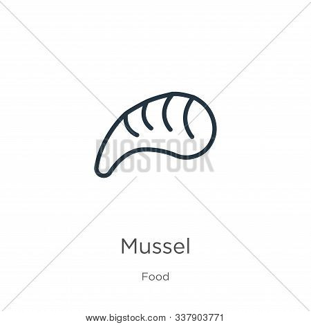 Mussel Icon. Thin Linear Mussel Outline Icon Isolated On White Background From Food Collection. Line