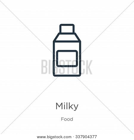 Milky Icon. Thin Linear Milky Outline Icon Isolated On White Background From Food Collection. Line V