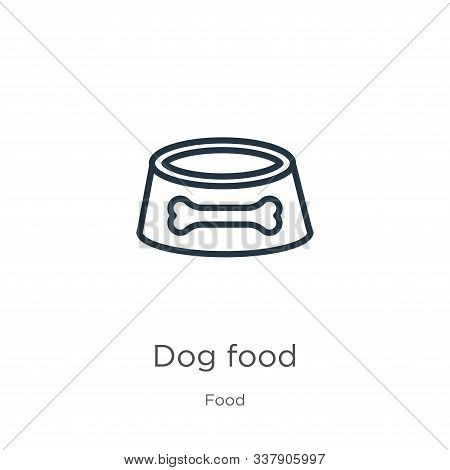 Dog Food Icon. Thin Linear Dog Food Outline Icon Isolated On White Background From Food Collection.