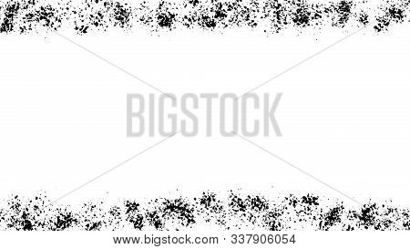 Abstract Frames Black Dust Isolated On White Background, Grainy Overlay Texture. Stock Image Of Bord
