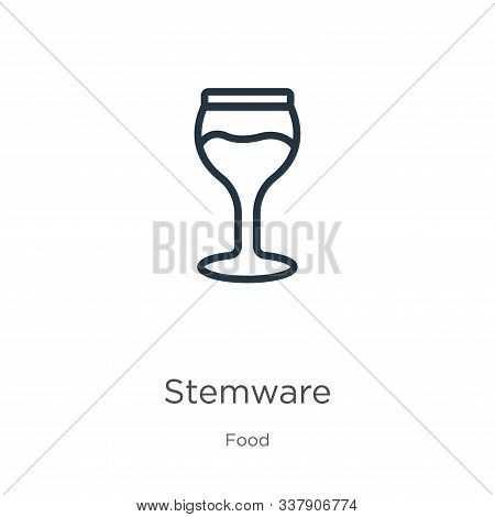 Stemware Icon. Thin Linear Stemware Outline Icon Isolated On White Background From Food Collection.