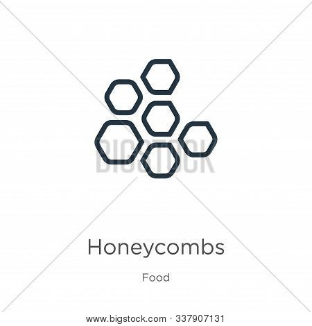 Honeycombs Icon. Thin Linear Honeycombs Outline Icon Isolated On White Background From Food Collecti