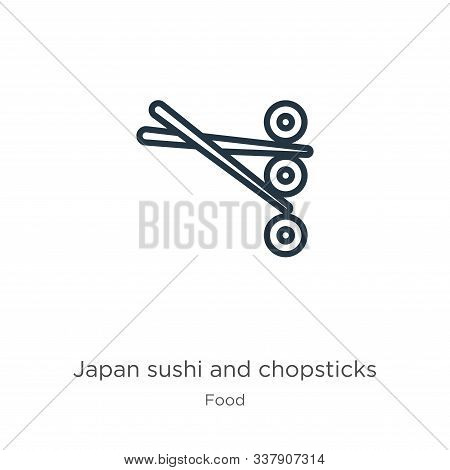 Japan Sushi And Chopsticks Icon. Thin Linear Japan Sushi And Chopsticks Outline Icon Isolated On Whi