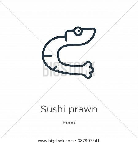 Sushi Prawn Icon. Thin Linear Sushi Prawn Outline Icon Isolated On White Background From Food Collec