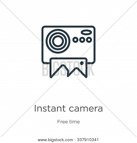 Instant Camera Icon. Thin Linear Instant Camera Outline Icon Isolated On White Background From Free