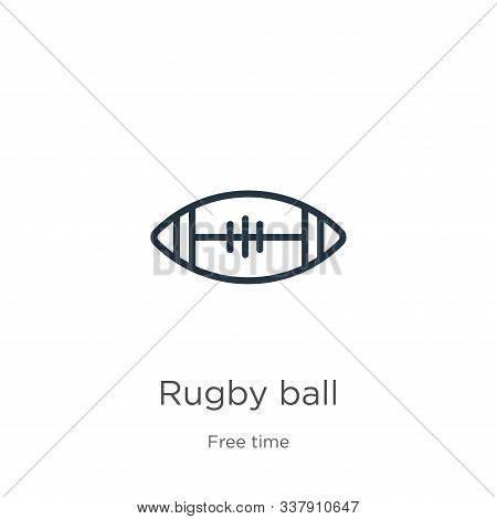 Rugby Ball Icon. Thin Linear Rugby Ball Outline Icon Isolated On White Background From Free Time Col