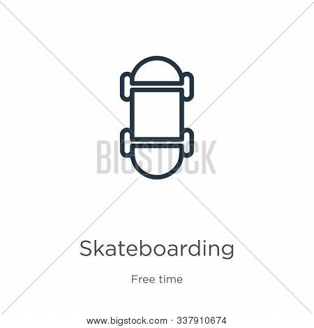 Skateboarding Icon. Thin Linear Skateboarding Outline Icon Isolated On White Background From Free Ti