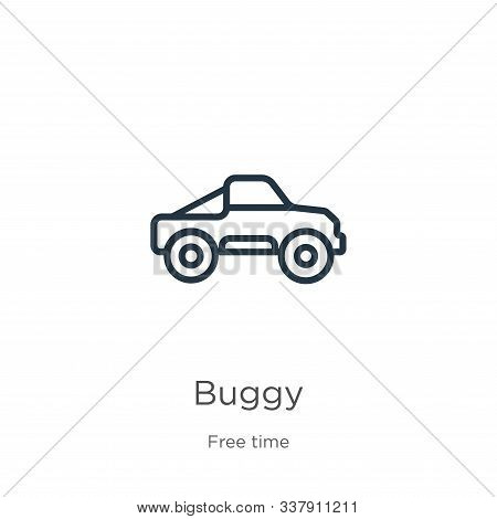 Buggy Icon. Thin Linear Buggy Outline Icon Isolated On White Background From Free Time Collection. L