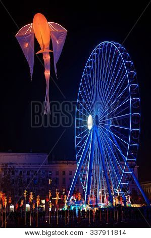 Lyon, France, December 5, 2019 : Festival Of Lights On Place Bellecour. For 4 Nights, Different Arti