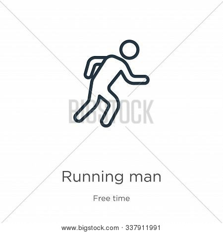 Running Man Icon. Thin Linear Running Man Outline Icon Isolated On White Background From Hobbies Col