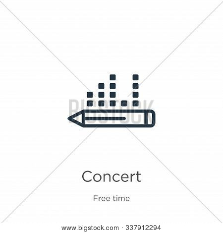 Concert Icon. Thin Linear Concert Outline Icon Isolated On White Background From Hobbies Collection.